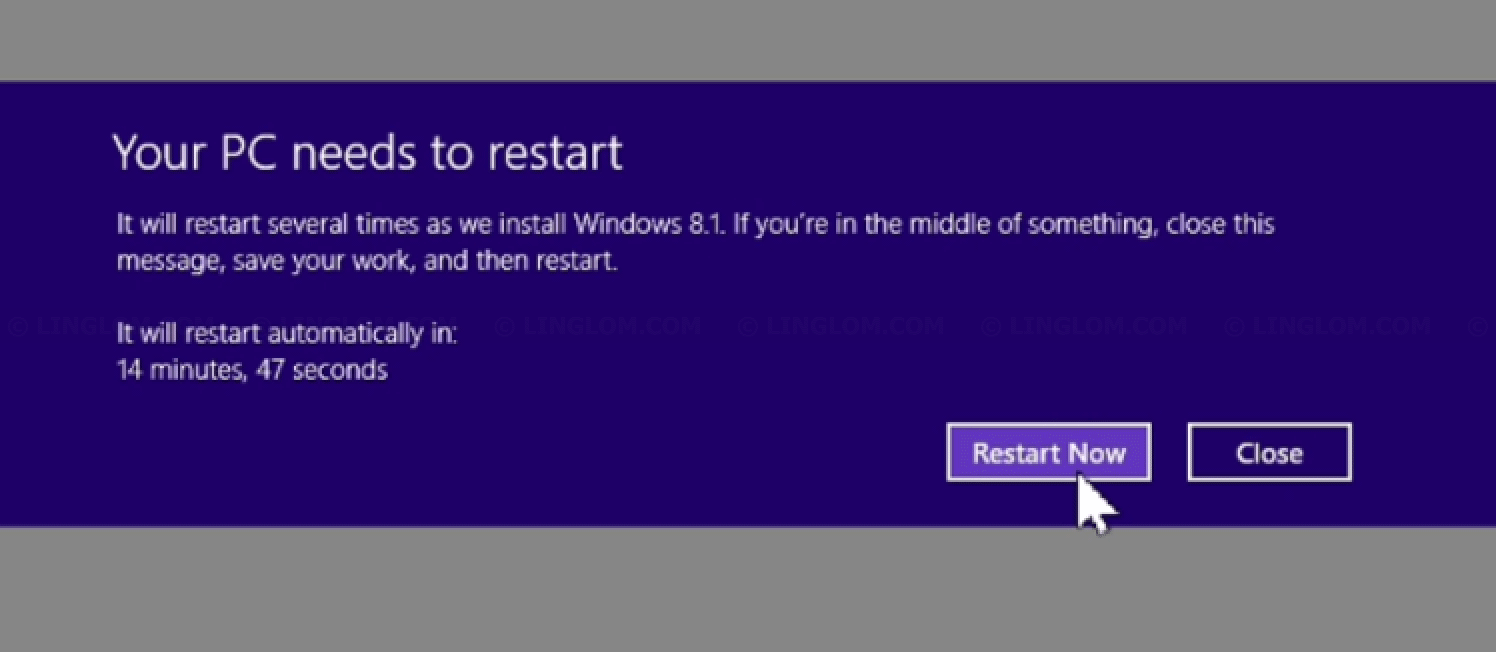 Update to Windows 8.1 - Reboot required