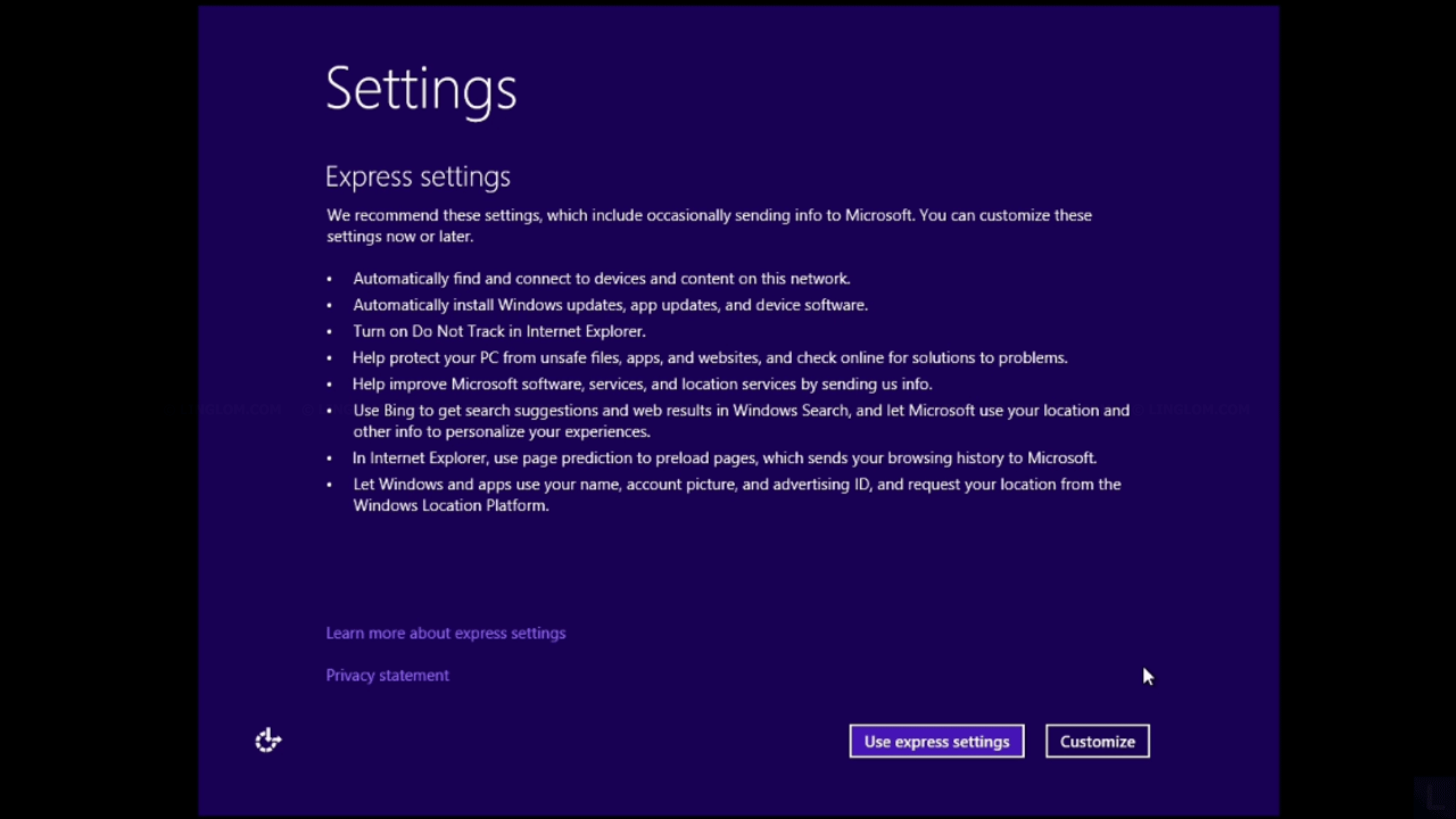 Update to Windows 8.1 - Use express settings