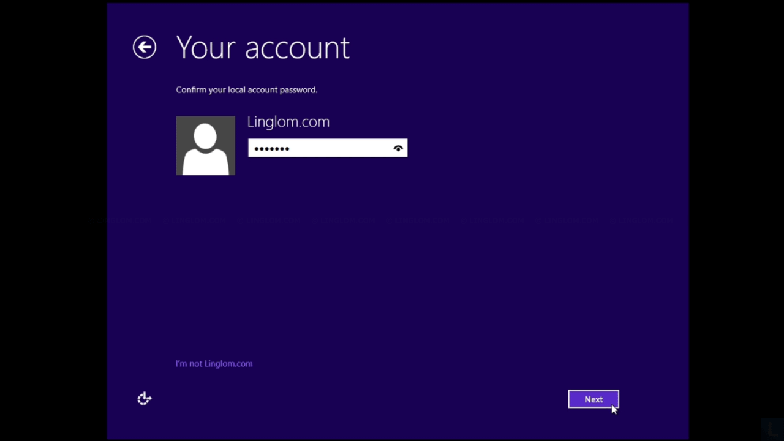 Update to Windows 8.1 - Enter account password