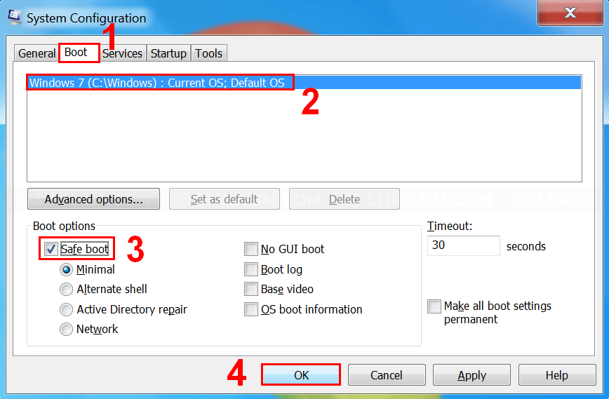 Check the option 'Safe Boot'