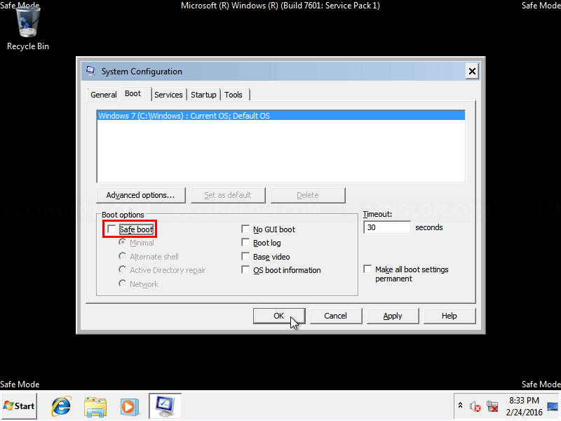 Uncheck 'Safe Boot' option