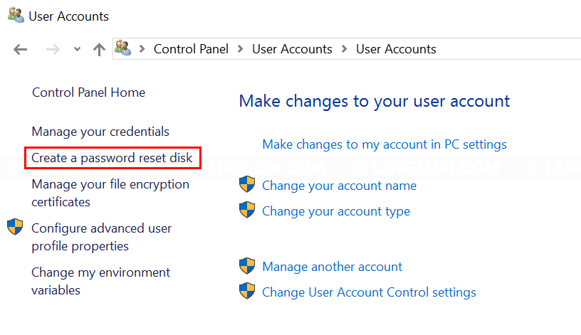Select Create a password reset disk