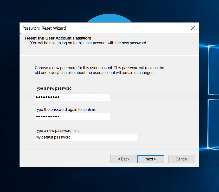 Reset the User Account Password