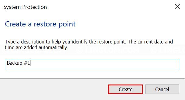 Enter description for this restore point