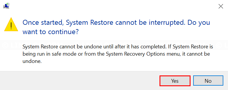 Confirm restore Windows with this restore point