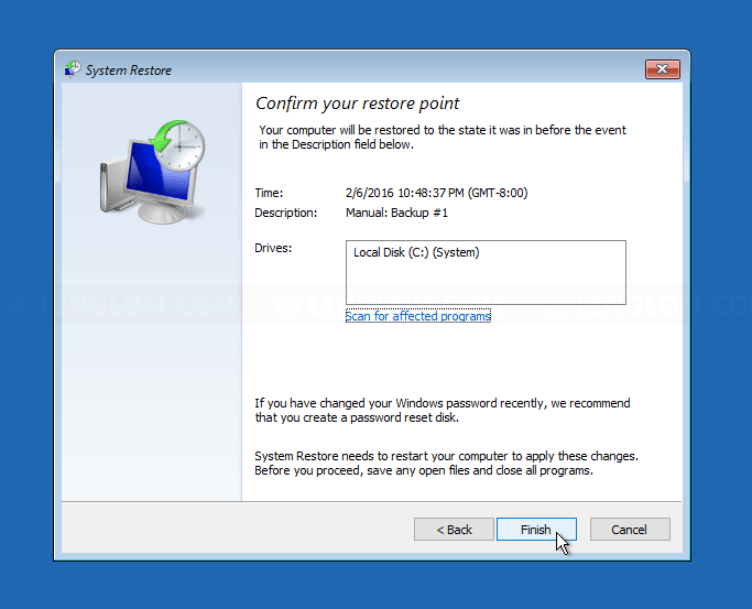 Finishing select a restore point