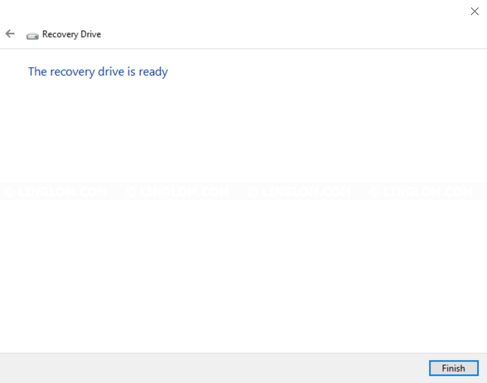 Finish creating recovery drive