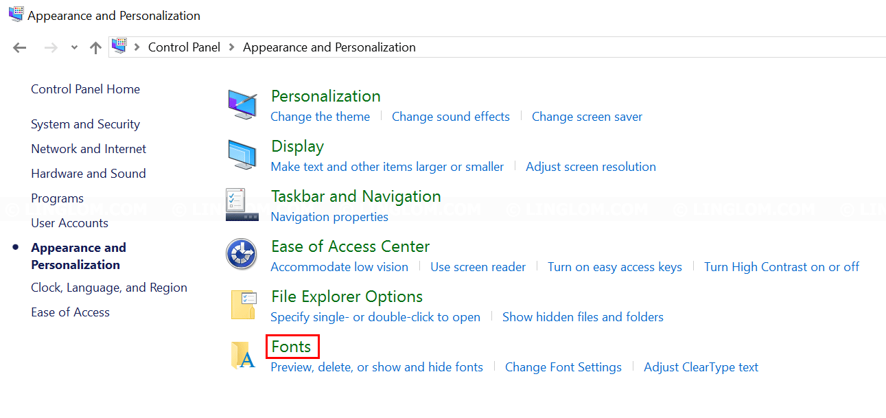 Select Fonts menu