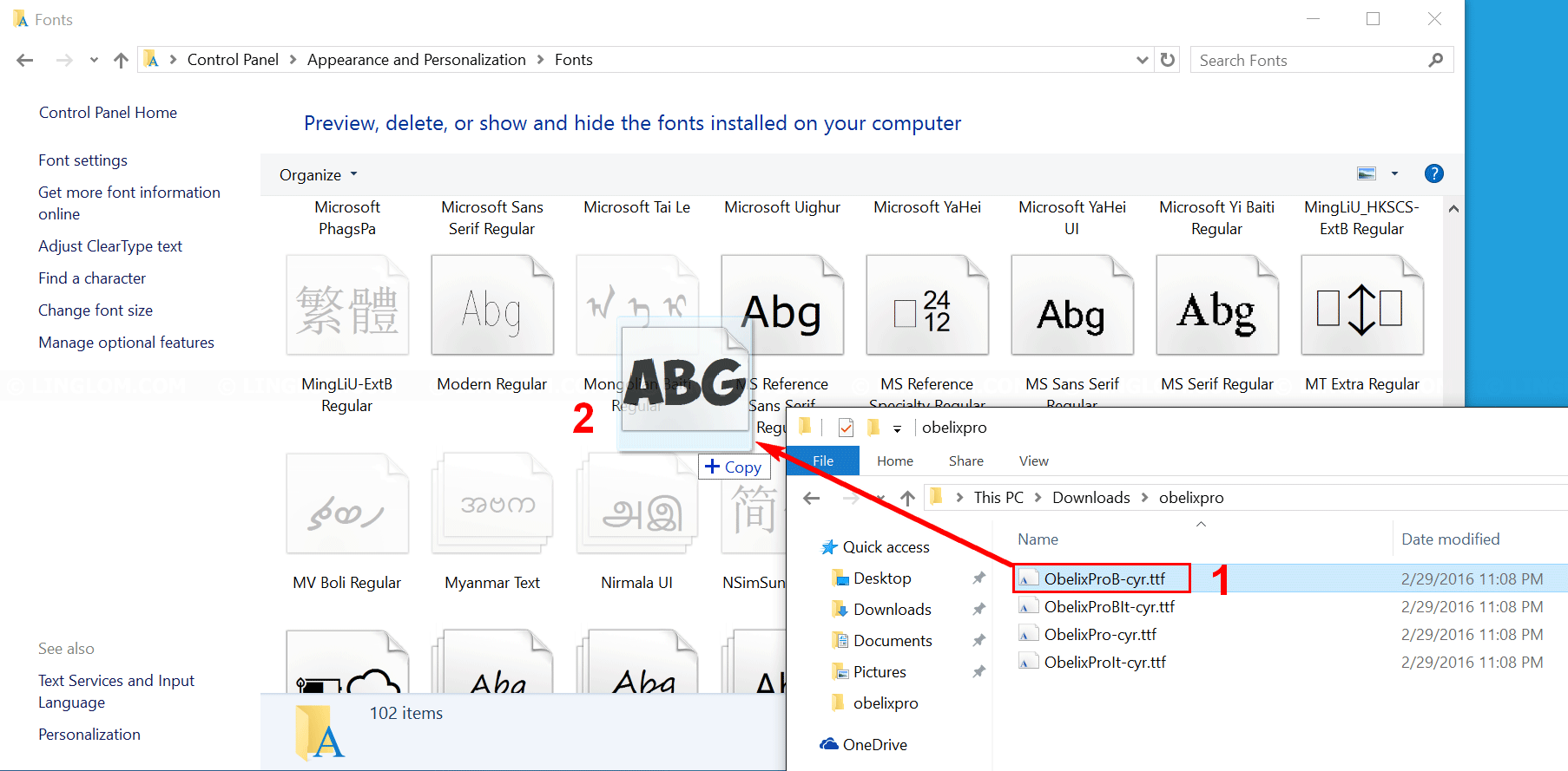 Drag new font to Fonts window