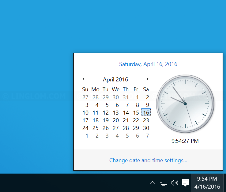 Old style clock in Windows 10