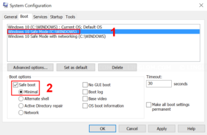 Configure minimal Safe Mode boot entry