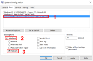 Configure Safe Mode with networking boot entry