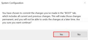 Confirm boot menu configuration