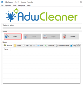 Scan your system with AdwCleaner