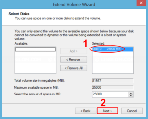 Select volume to extend
