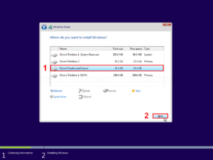 Select partition to install Windows
