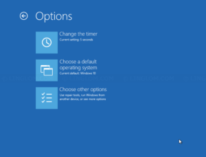 Change defaults or choose other options