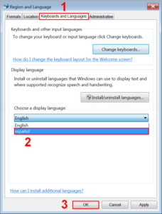 Change display language to Spanish