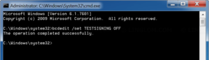 Disable test mode in Windows 7