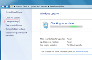 Open Change settings menu in Windows Update