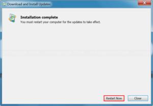 Restart your system after installing Windows update