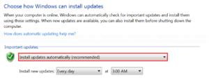 Modify setting in Windows Update