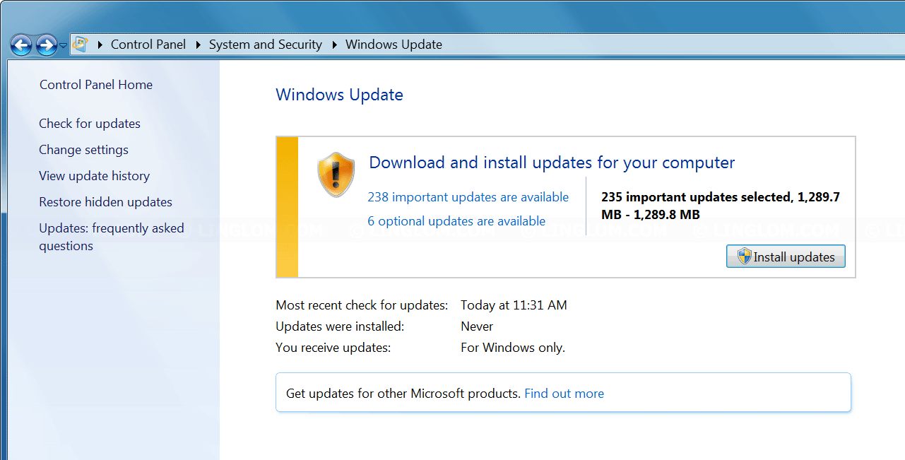 windows 7 stuck on installing update