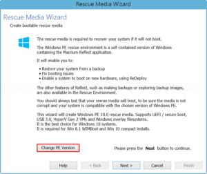 Change Windows PE version