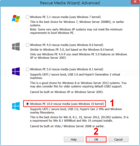 Select Windows PE 10.0