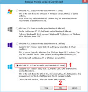Select Windows PE 10.0