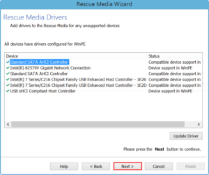 Update drivers to the rescue media