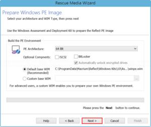 Prepare Windows PE image