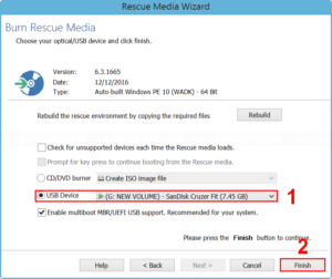 Create rescue media on a flash drive
