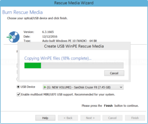 Create USB WinPE rescue media
