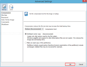 Configure Backup Advanced Settings