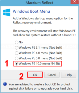 Select Windows PE to add to Boot Menu