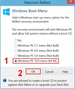 Select Windows PE to add to Boot Menu