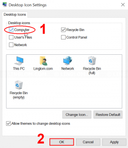 Select desktop icons to display