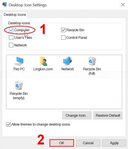 Select desktop icons to display