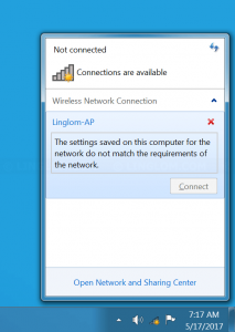 Can't connect to the wireless network