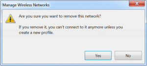Confirm removing wireless network profile