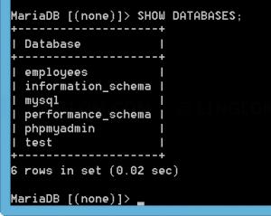 List databases on the MySQL server