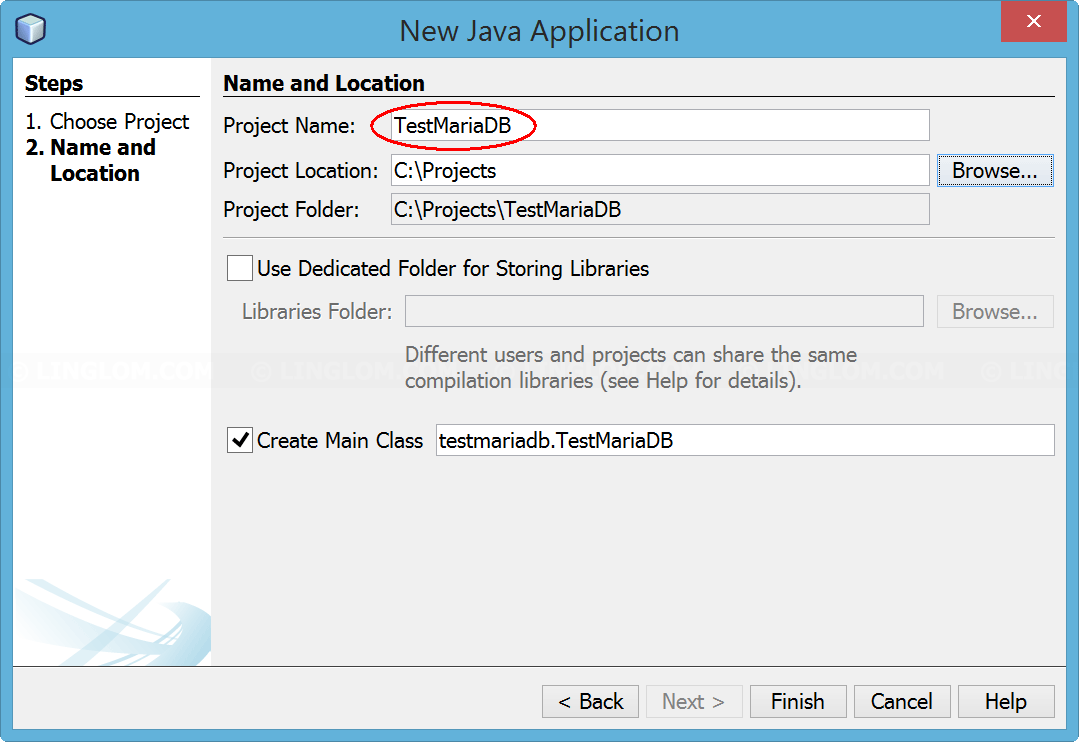 Accessing MariaDB on NetBeans 8 2 using JDBC, Part 2: Create a