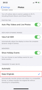 Select Keep Originals option in Transfer to Mac or PC section